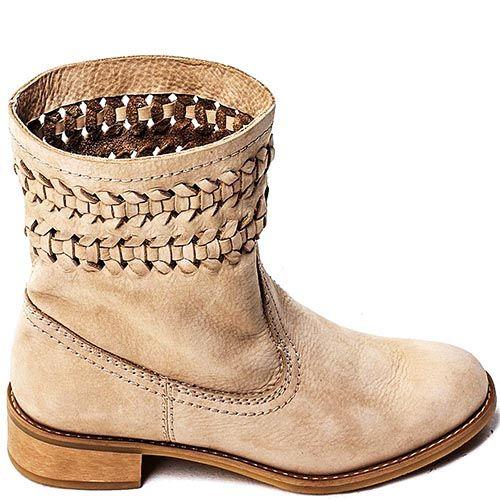Женские ботинки Modus Vivendi из бежевого нубука с декоративным плетением, фото