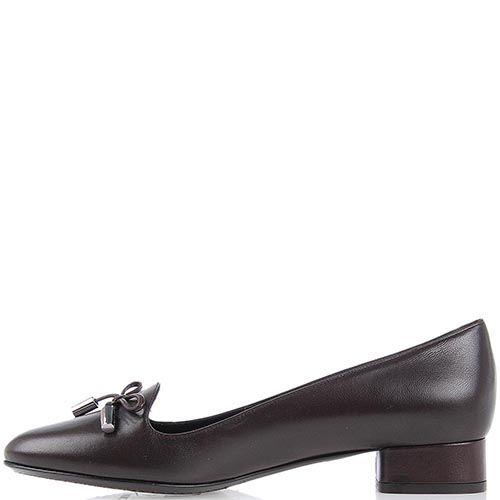 Женские туфли Moncler на небольшом каблуке коричневого цвета, фото