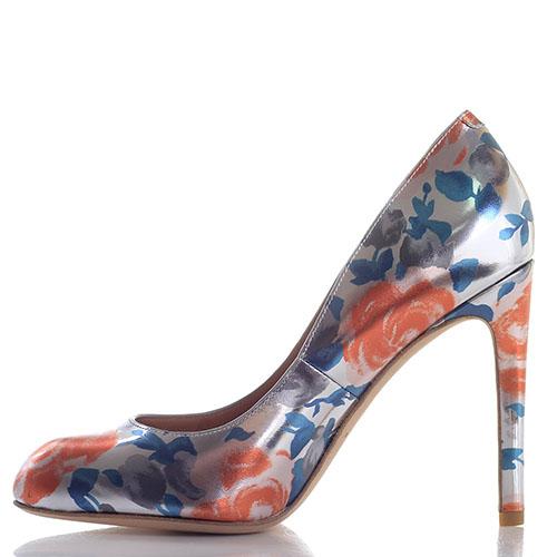 Серебристые туфли на шпильке Marc by Marc Jacobs с цветочным принтом, фото