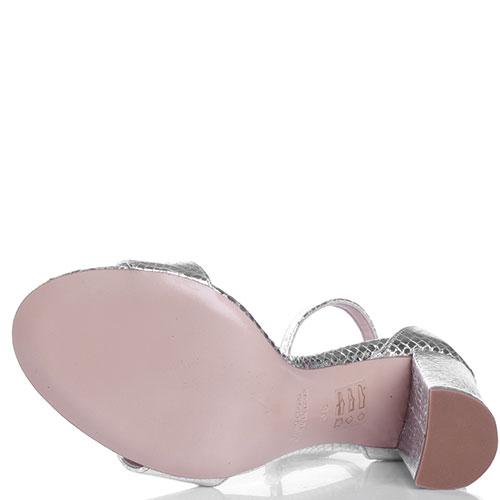 Серебристые босоножки Bianca Di на высоком каблуке, фото