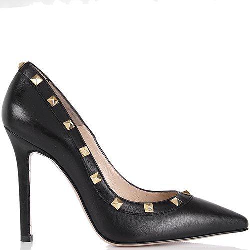 Туфли lEstrosa черного цвета с золотистыми заклепками, фото
