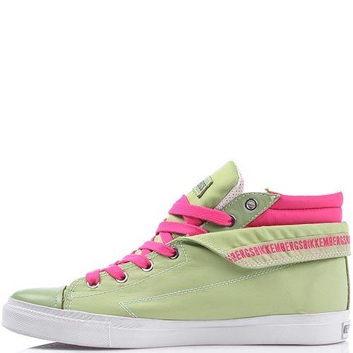 Текстильные кеды Bikkembergs зеленого цвета с ярко-розовыми вставками, фото