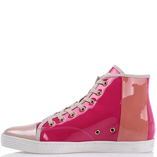 Лаковые высокие кеды Bikkembergs из сочетания розовой и бежевой кожи, фото