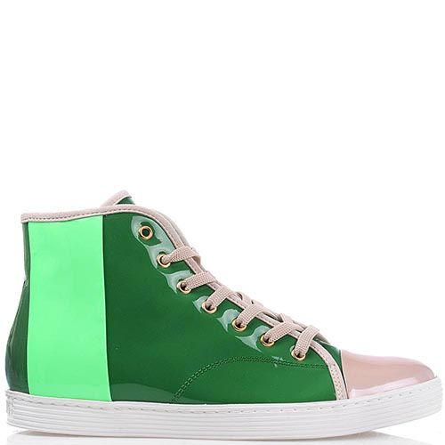 Высокие кеды Bikkembergs из лаковой кожи зеленого и салатового цвета, фото