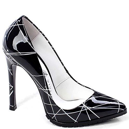 Туфли-лодочки Modus Vivendi черно-белые лаковые на высоком каблуке, фото