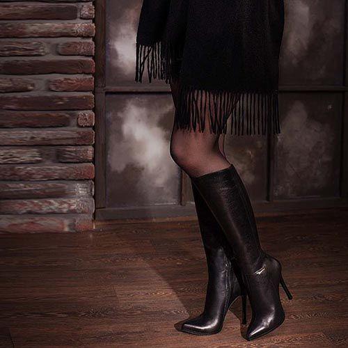Высокие сапоги Modus Vivendi кожаные черные на высоком каблуке, фото
