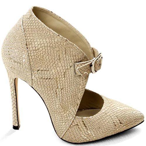 Бежевые туфли Modus Vivendi закрытого типа с имитацией кожи змеи, фото