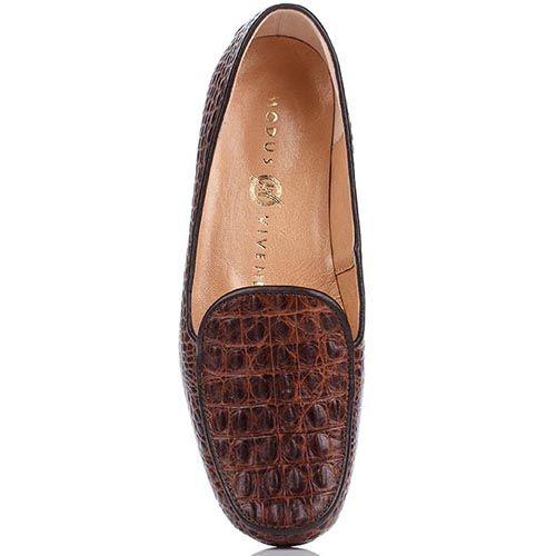 Кожаные мокасины Modus Vivendi коричневого цвета с имитацией крокодиловой кожи, фото