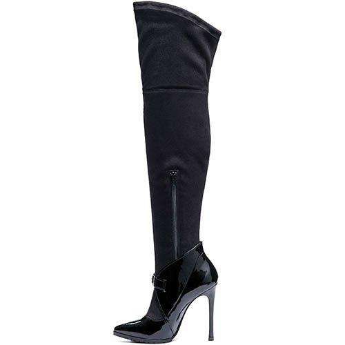 Сапоги-чулки из лаковой кожи черного цвета Modus Vivendi с текстильным верхом, фото