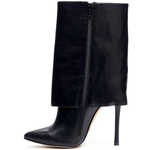 Кожаные сапоги черного цвета Modus Vivendi с широким отворотом, фото
