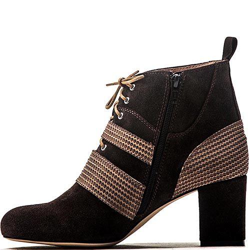 Женские ботинки Modus Vivendi из коричневой замши и кожи на устойчивом каблуке, фото