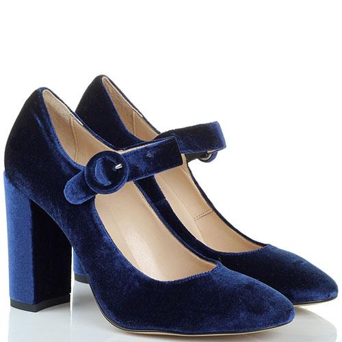 Бархатные туфли синего цвета Bianca Di на высоком устойчивом каблуке, фото