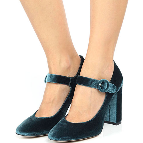 Бархатные туфли голубого цвета Bianca Di на ремешке и устойчивом каблуке, фото