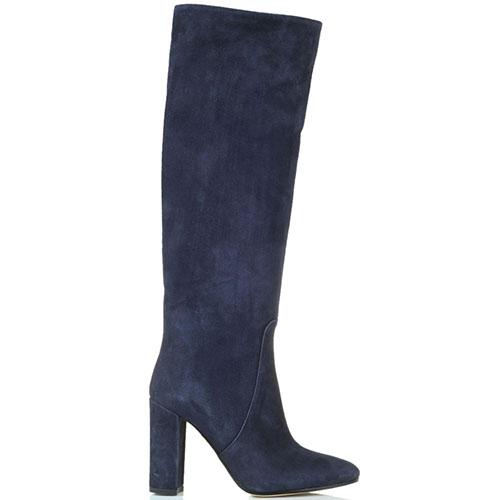Высокие замшевые сапоги Bianca Di синего цвета, фото