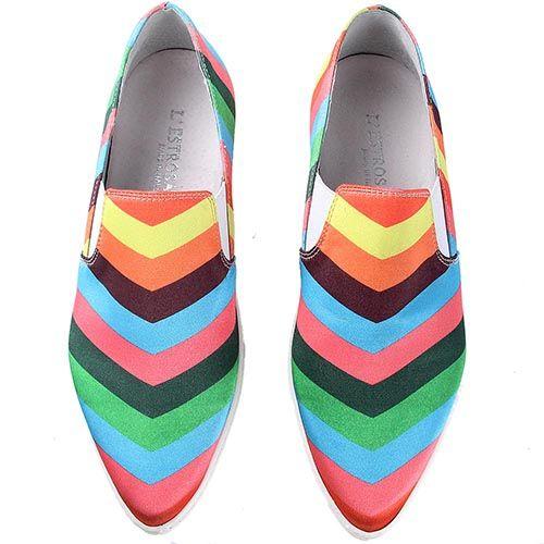 Слипоны lEstrosa в разноцветные полоски, фото