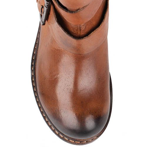 Кожаные ботинки Manas рыжего цвета с декоративными ремешками с пряжками, фото