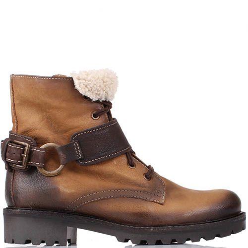 Ботинки Manas светло-коричневого цвета с меховым отворотом, фото