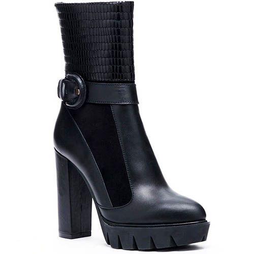 Ботинки из кожи и замши черного цвета Modus Vivendi на толстом каблуке и платформе, фото