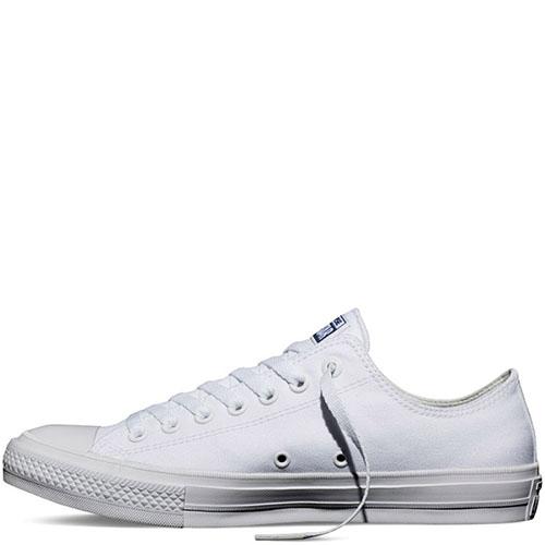 Низкие белые кеды Converse Chuck II на белой подошве, фото