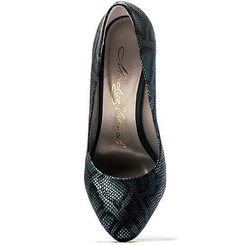 Туфли Modus Vivendi из кожи черного цвета с бирюзовым принтом под рептилию, фото