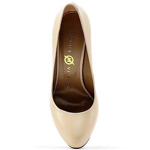 Туфли Modus Vivendi кожаные молочного цвета на высоком каблуке, фото