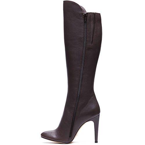 Высокие кожаные сапоги Modus Vivendi коричневого цвета, фото