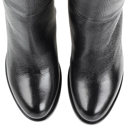 Кожаные зимние сапоги Reda Milano черного цвета на толстом каблуке, фото
