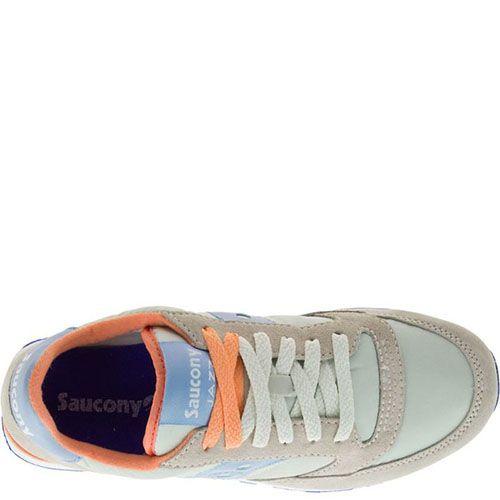 Кроссовки Saucony Jazz Lowpro Off White Lgt Blue бежевые с голубым, фото