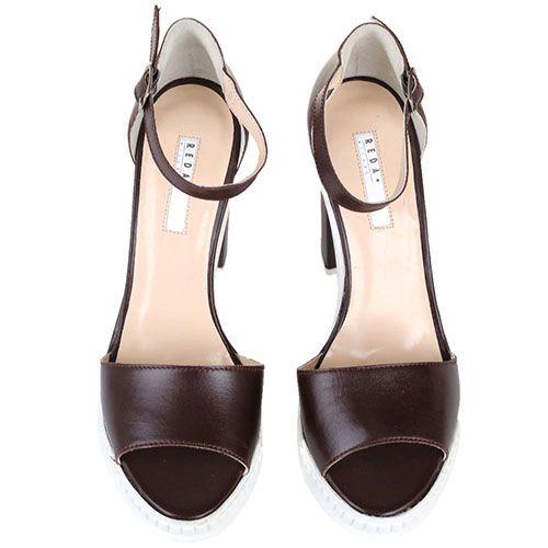 Босоножки Reda Milano из кожи коричневого цвета на устойчивом каблуке, фото