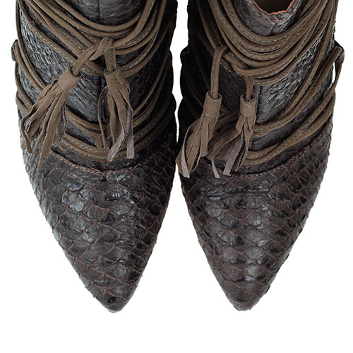 Ботильоны коричневого цвета Vicenza из кожи тисненой под рептилию с декоративной шнуровкой, фото