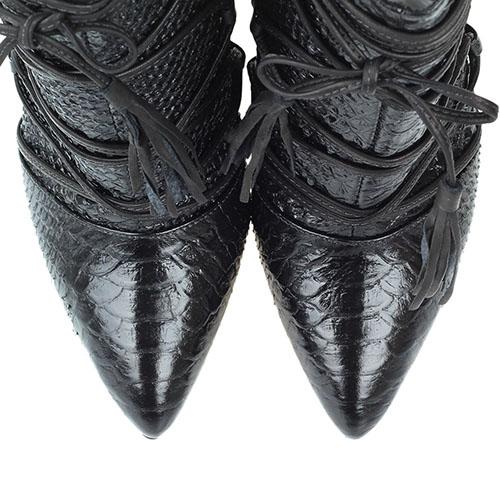 Ботильоны черного цвета Vicenza из кожи тисненой под рептилию с декоративной шнуровкой, фото
