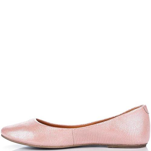 Кожаные балетки Modus Vivendi розового цвета с перламутровым отливом, фото