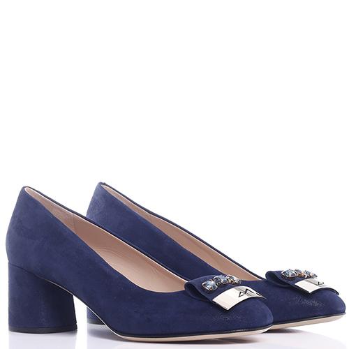Синие туфли Musella с декором-камнями, фото