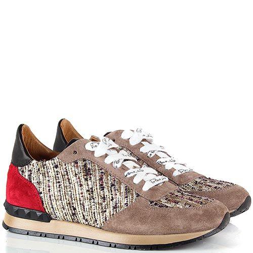Кроссовки Via Roma 15 бежевого цвета замшевые с текстильной вставкой из золотистых нитей, фото