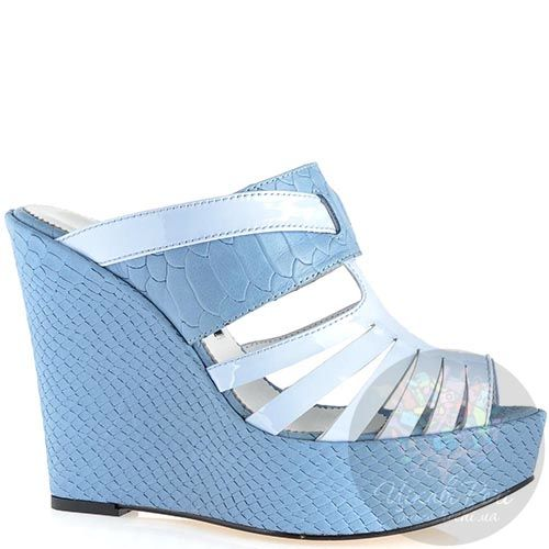 Сабо Modus Vivendi серо-голубого цвета из кожи на платформе, фото