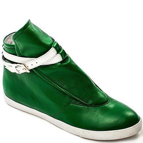 Сникерсы Modus Vivendi из кожи зеленого цвета на белой подошве, фото