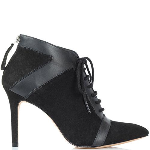 Ботильоны черного цвета на шнуровке Vicenza из нубука с кожаными вставками, фото