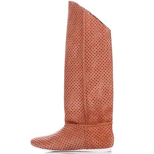 Высокие сапоги Modus Vivendi из перфорированной кожи коричневого цвета, фото