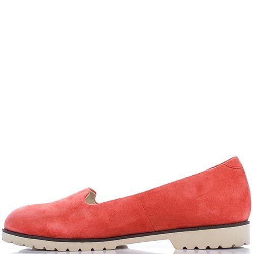 Слипоны Modus Vivendi из натуральной замши приглушенно-красного цвета, фото