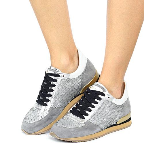 Замшевые кроссовки Via Roma 15 серого цвета с декором из пайеток, фото