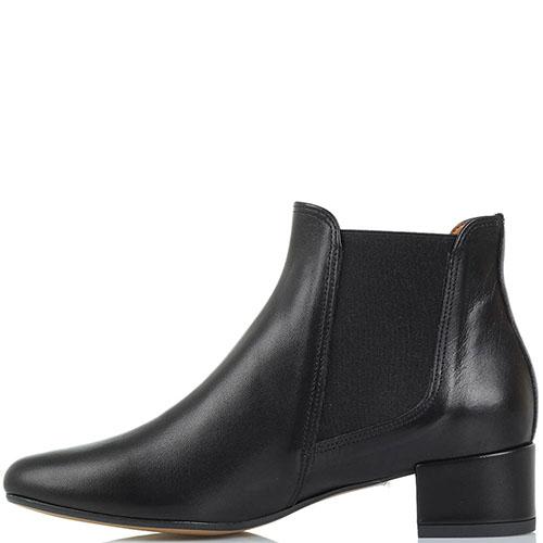 Ботинки кожаные черного цвета Bianca Di со вставками в виде резинок, фото