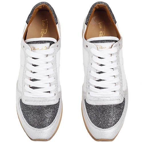 Серебристые кроссовки Via Roma 15 из кожи с текстильными вставками, фото