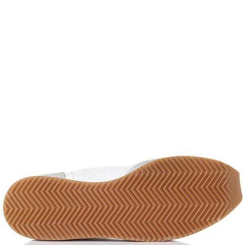 Серебристые кроссовки Via Roma 15 из натуральной кожи с текстильными вставками, фото