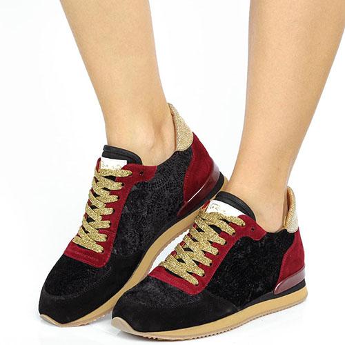 Замшевые кроссовки Via Roma 15 в черно-бордовом цвете, фото