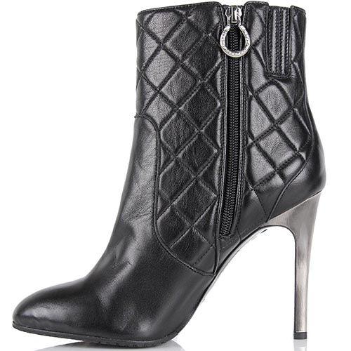 Стеганные демисезонные ботинки Pakerson на высоком каблуке-шпильке, фото