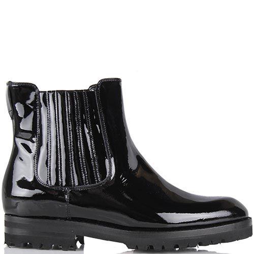 Женские ботинки Pakerson из натуральной лаковой кожи черного цвета со вставкой-резинкой, фото