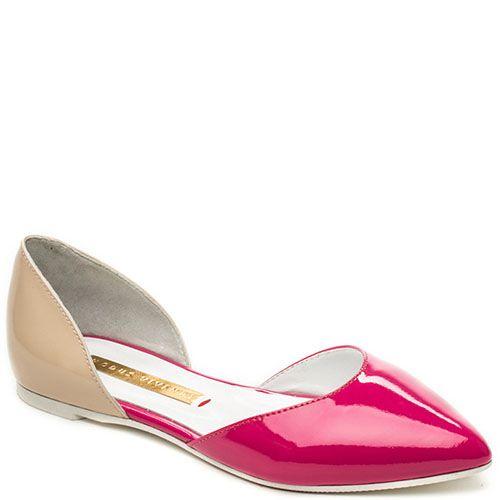 Открытые туфли Modus Vivendi из лаковой кожи бежевого и малинового цвета, фото