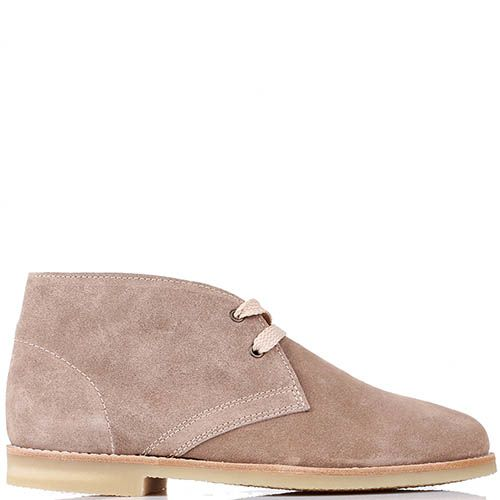 Замшевые ботинки J.J.Delacroix бежевого цвета на шнуровке, фото