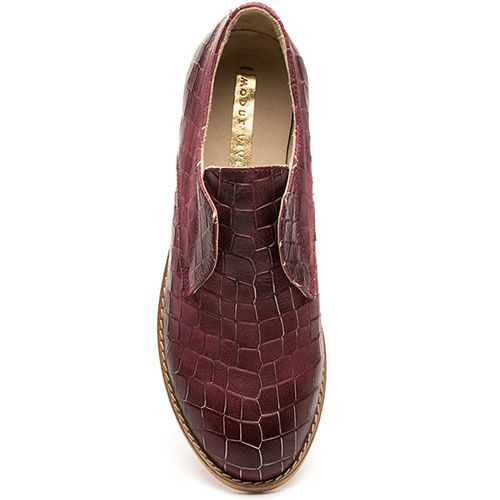 Женские туфли Modus Vivendi бордового цвета с имитацией кожи крокодила, фото