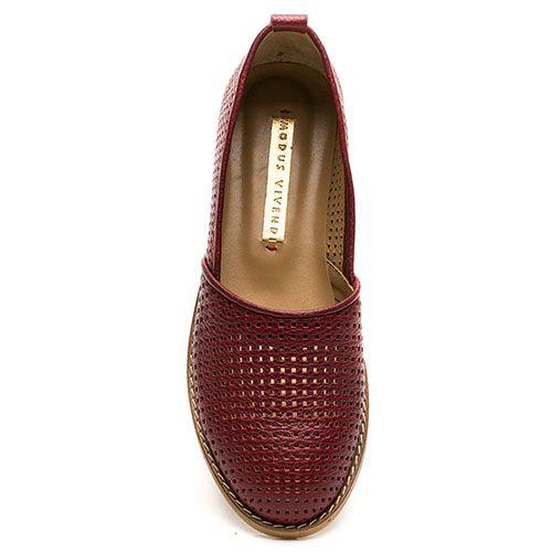 Кожаные эспадрильи с перфорацией Modus Vivendi красного цвета, фото